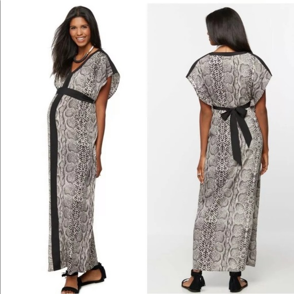 A Pea in the Pod Dresses & Skirts - Rachel Zoe Maternity Maxi Dress Snake Print Sz L